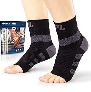 Powerlix Plantar Fasciitis Socks (Pair), Nano Socks, Ankle Support Brace for Women & Men, Toeless Compression Foot Sleeve for Neuropathy, Arch and Heel Pain – Better Than Night Splint & Insoles