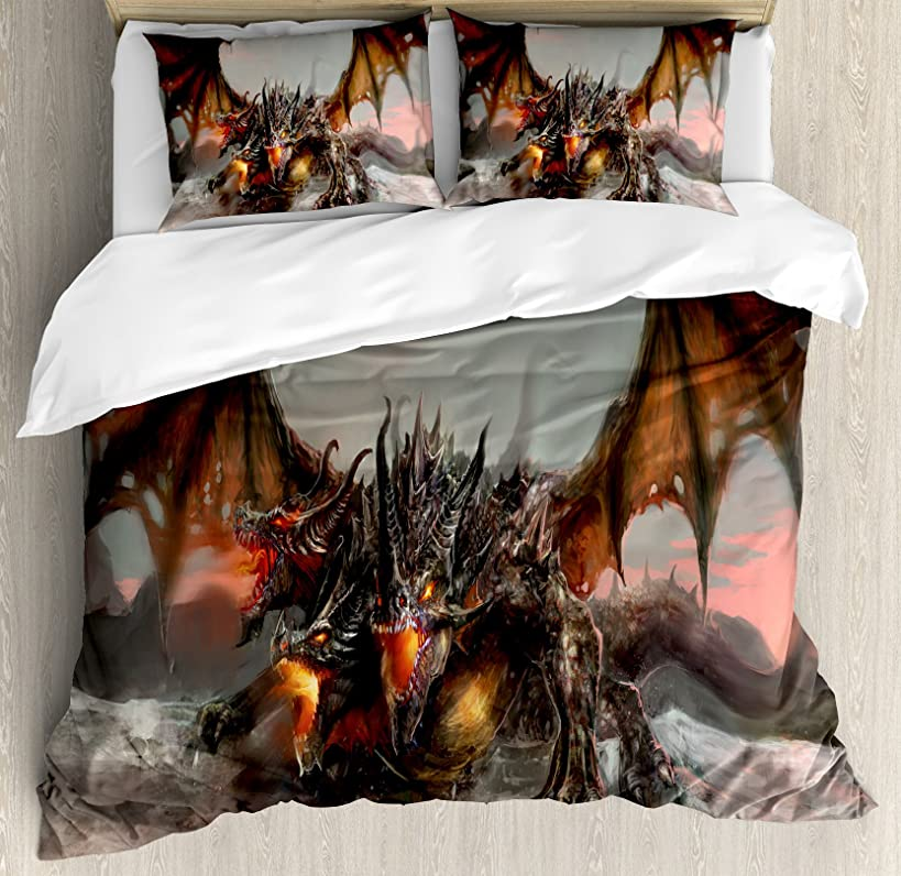 Ambesonne Fantasy World Duvet Cover Set Queen Size, Illustration of 3 Headed Fire Breathing Dragon Large Monster Gothic Theme, Decorative 3 Piece Bedding Set with 2 Pillow Shams, Brown Grey