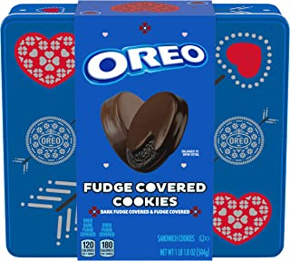 Oreo Fudge Dark Fudge Covered Valentine's Day Sandwich Cookies Valentine Cookies Gift Tin 1.11 lb 24 Cookies Total, Chocol...