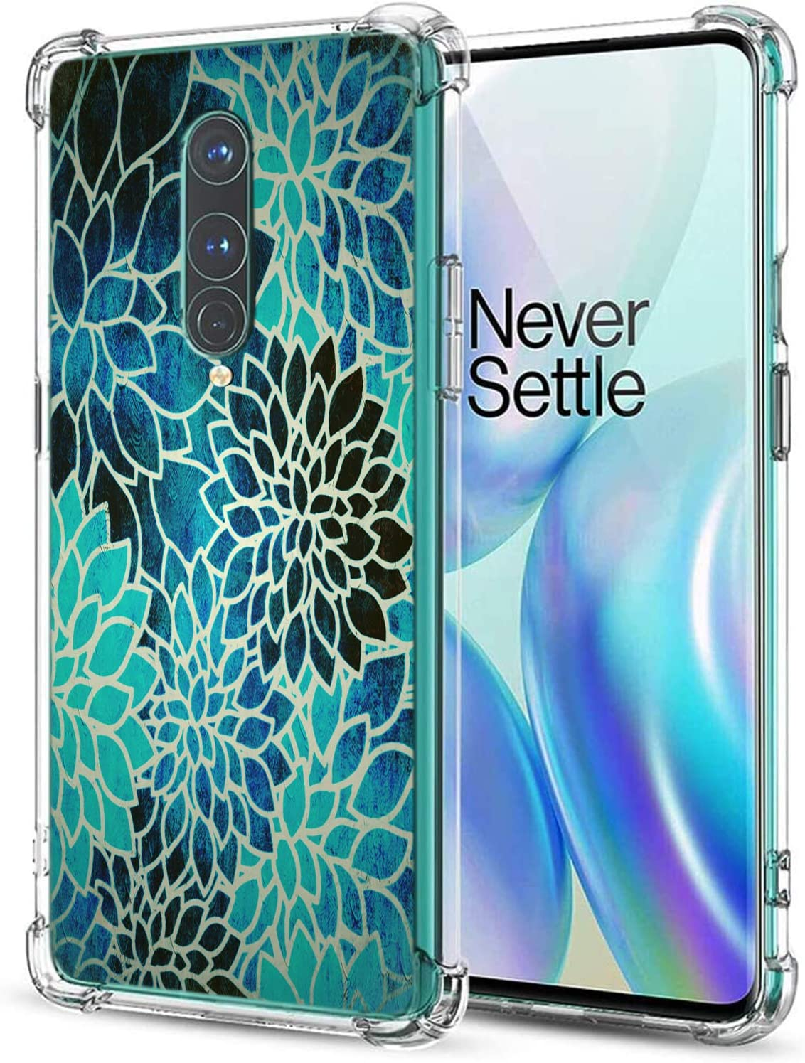 Lotus Case for OnePlus 8,Gifun Hard PC+TPU Bumper Clear Protective Case Compatible with Oneplus 8 5G Phone(NOT FIT with Verizon Version) - Vintage Blue Lotus