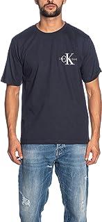 Calvin Klein Jeans Men's MONOGRAM EMBRO REG CHEST SS T-Shirts, Blue (Night Sky 402), Large