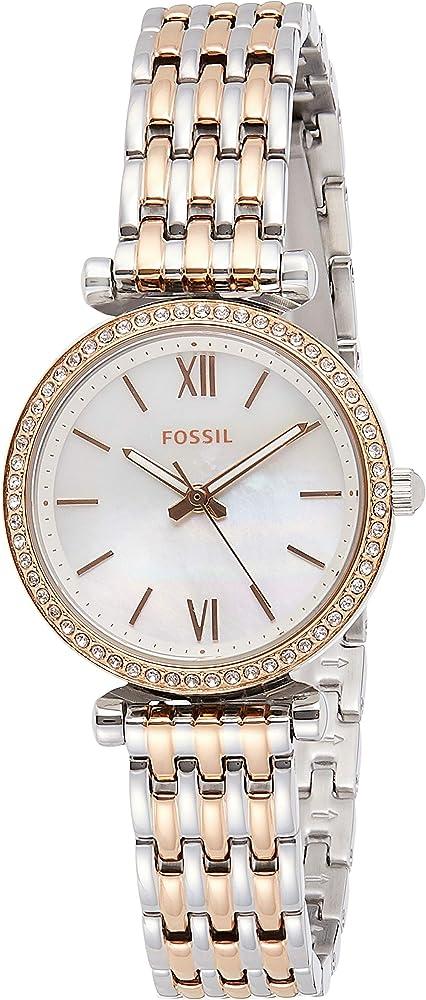 Fossil, orologio per donna con cinturino in acciaio inossidabile bicolore,ghiera decorata da cristalli ES4649
