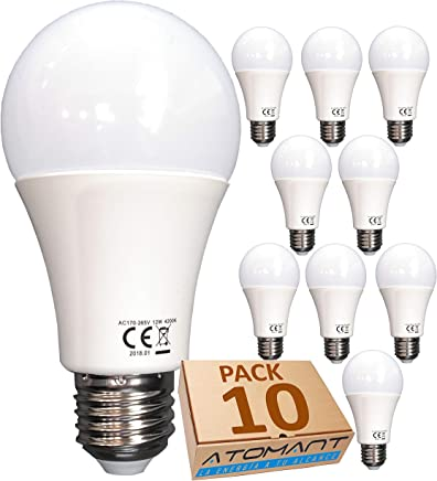 (LA) 10x Bombilla LED A60, Blanco Calido (3000K),12w, Equivalencia 100w, no Regulable, 1120 lúmenes reales certificados.