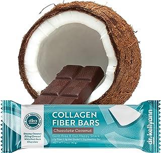 Keto Collagen Fiber Bar - High Fiber, Low Carbs - Soy Free, Gluten Free, Non-GMO & No Added Sugar - Perfect Keto & Paleo Snack with Creamy Coconut Inside Dipped in Dark Chocolate (12 Bars)