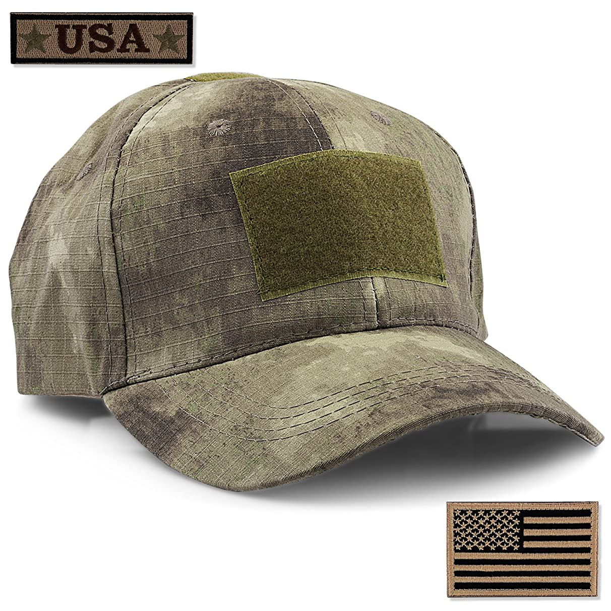 STEVEN G Tactical Military Hat Adjustable Baseball Cap 6 Vent Holes USA Flag for Hunting Fishing Hiking Outdoor Life Men Women Teens Fits Most Head Sizes 2 Interchangeable Patches Included