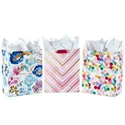"""Hallmark 13"""" Large Gift Bags Assortment with Tissue Paper - Pack of 3 in Floral, Chevron, Dots for B"""