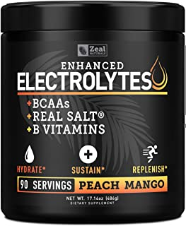 Sponsored Ad - Electrolyte Powder Recovery Drink (90 Servings | Peach Mango) w Real Salt +BCAAs +B-Vitamins Sugar Free Ele...
