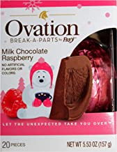 Frey (1) Box Ovation Break-A-Parts Ball/Orange Shaped Holiday Candy - Milk Chocolate Raspberry Flavor - Splits Into 20 Pie...