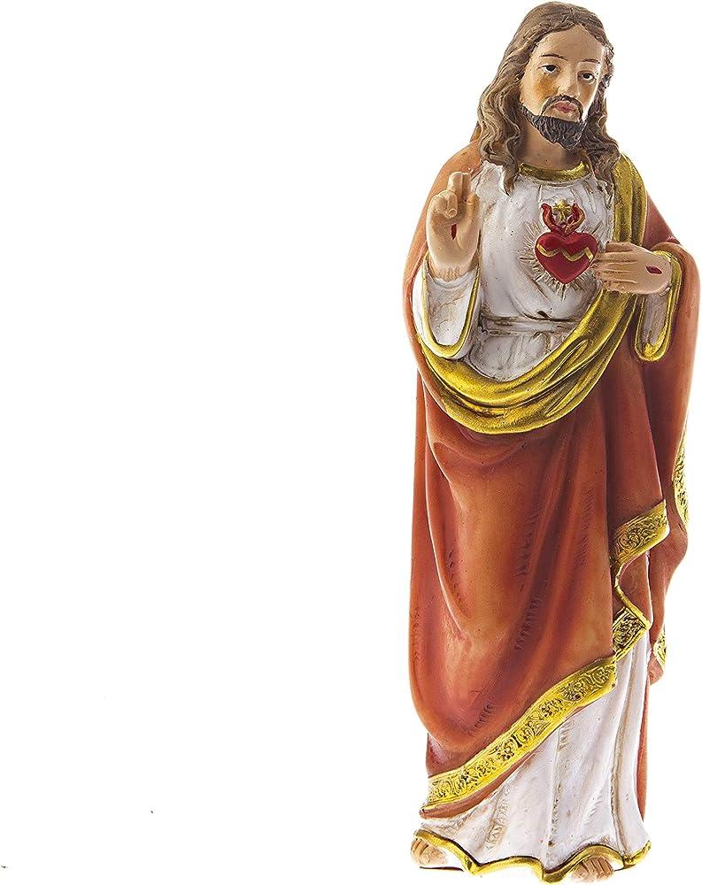 dell`arte articoli religiosi - statua del sacro cuore di gesù, cm 12, in poliresina