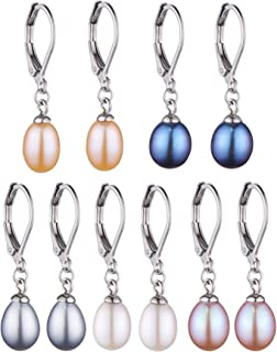 Set of 5 Freshwater Cultured Drop Dangle Pearl Earrings White,Grey,Peach,Pink,Peacock Pearl Earrings with Stainless Steel Leverback (7-8mm)