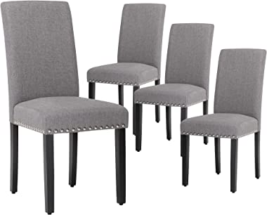 LSSBOUGHT Upholstered Dining Chairs with Solid Wood Legs and Nailed Trim Set of 4 (Gray)