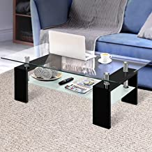Artiss Coffee Table 2 Tier Tempered Glass Stainless Steel High Gloss MDF Board Storage Shelf Modern Furniture Home Living ...