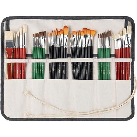 TrifyCore Herramienta de Pintura para el Pelo Juego de 25 Pinceles de Pintura Punta de Acuarela de Madera Pinceles Profesionales de Nailon Multi.