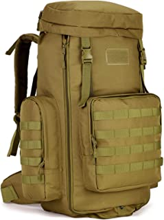 Tactical Travel Backpack MOLLE Rucksack-70L-85L Waterproof Camouflage Suitcase Hunting Mountain Sports Trekking Camping (tan)