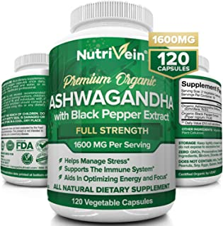 Sponsored Ad - Nutrivein Organic Ashwagandha Capsules 1600mg with Black Pepper Extract - 120 Vegan Pills - 100% Pure Root ...