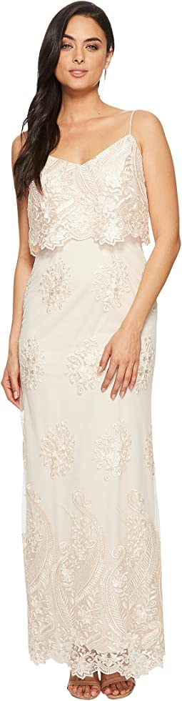 Adrianna Papell Embroidered Popover Gown