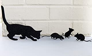 Decorae Cat and Mice Silhouette Set (4-Piece Set); Glitter Silhouette Metal Figures for Home and Holiday Decor