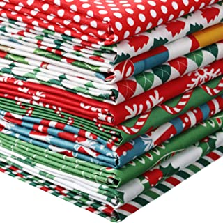 10 Pieces Christmas Cotton Fabric Squares Precut Quilting Fabric Patchwork Christmas Snowflake Print Red Green Fabric for ...