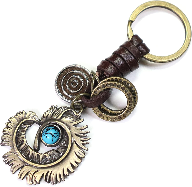 AuPra Blue Dream Eye Leather KeyChain Best Friend Gift Idea Women Men House Safe KeyRing Girl Boy Friendship Extra Small Present Dream Cather Home Car Key Chain Ring