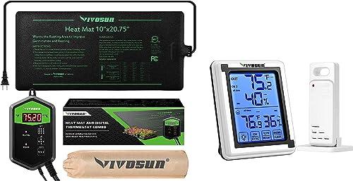 "discount VIVOSUN 10""x20.75"" online Seedling Heat Mat and online sale Digital Thermostat Combo Set MET Standard & Digital Hygrometer Indoor Outdoor Thermometer Humidity Monitor outlet online sale"