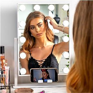 """آینه های غرورآمیز REBEL POPPY با چراغ های LED - پایه تلفن ، 3 کنترل لمسی روشنایی ، 18.5 """"x 14.8"""" ، Fogless - آینه آرایشی روشن هالیوود - سفید"""