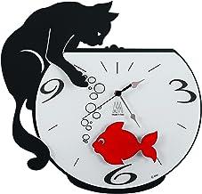 ARTI E MESTIERI Horloge murale avec pendule M/étal Chat /à la fen/être-Gris-32 x 47 cm