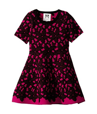 Milly Minis Floral Mesh Jacquard Dress (Toddler/Little Kids) (Magenta/Black) Girl