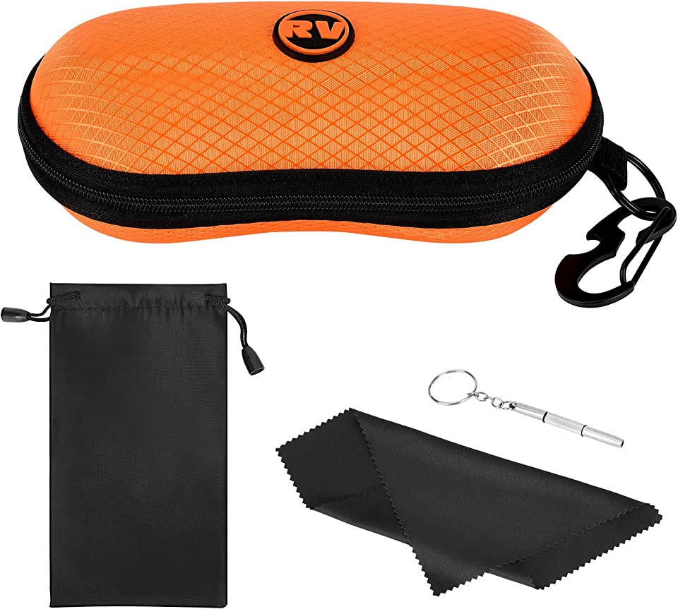 Sunglasses Case, EVA Hard Shell Sports Eyeglasses Organizer Case with Metal Hanging Hook and Screwdriver, Eyeglass Cases Eyewear Accessories for All Types of Eyeglass