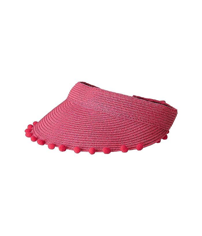 Women's Vintage Hats | Old Fashioned Hats | Retro Hats San Diego Hat Company UBV045 Visor with Matching Color Pom and Adjustable Back Hot Pink Casual Visor $11.14 AT vintagedancer.com