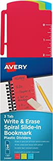 Avery Spiral Slide-in Plastic Bookmark Dividers, 3 Tabs, 1 Set, Write & Erase, Assorted Colors (24980)