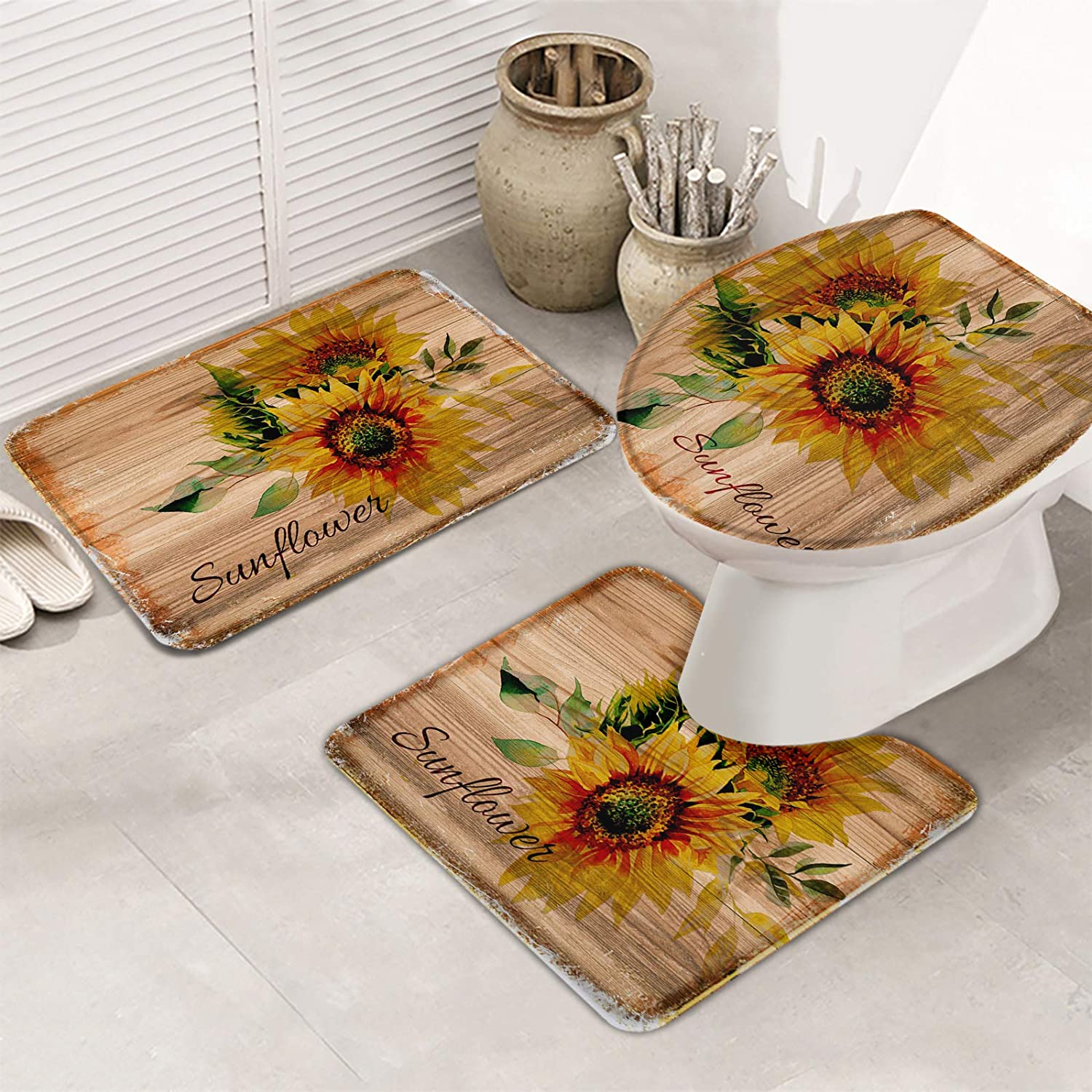 OneHoney Vintage Farm Bombing new work Florals 3 Pieces Bath and Mats Set Max 57% OFF N Rugs