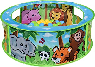 Sunny Days Entertainment Zoo Adventure Pop-Up Ball Pit with Colorful Bpa & Phthalates Free Crush Proof Balls in Assorted Colors