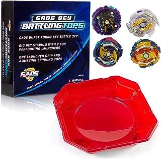 GADS Bey Burst Battling Tops | Metal Fusion Complete Battle Set | Big Bey Stadium, 2 Top Launchers, 1 Launcher Grip & 4 Spinning Tops