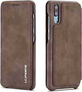 QLTYPRI Huawei P20 Flip Case Cover, Vintage Slim PU Leather Case Magnetic Closure Stand Function Card Slot Shockproof Wallet Case for Huawei P20 - Brown