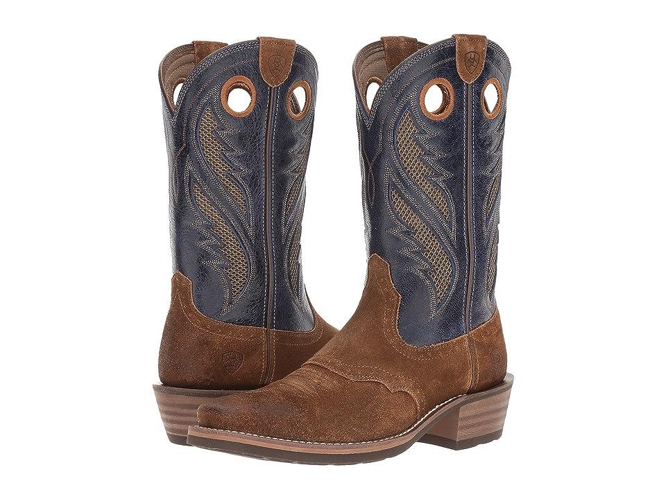 Ariat Heritage Roughstock Venttek (Antique Mocha Suede/Pacific) Cowboy Boots