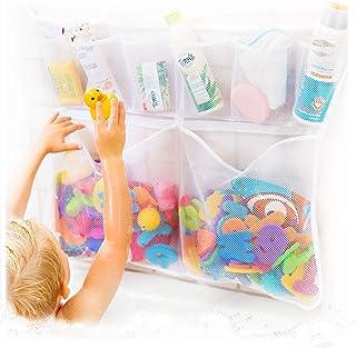 The Really Big Tub Cubby Bath Toy Organizer & Caddy – 6X Soap & Shampoo Pockets - Quick Dry Bathtub Storage Net - 6X Lock Tight Suction Hooks & 3M Stickers - Sure Not to Fall.