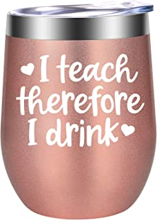 I Teach therefore I Drink - Teacher Appreciation Gifts - Funny Best Teacher Gifts for Women - Thank You, Christmas, Birthday Wine Gifts for Teachers - LEADO Wine Tumbler Cup