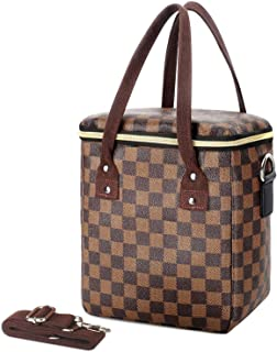 Tophie Lunch Bag Insulated Lunch Box Cooler Bag Water-resistant Thermal Lunch Bag for Women and Girls with Shoulder Strap Soft PU Leather Lunch Tote Bag for Work/School/Picnic (Brown)