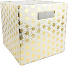 "DII Hard Sided Collapsible Fabric Storage Container for Nursery, Offices, & Home Organization, (13x13x13"") - Honeycomb Gold"