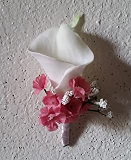 Ivory Mauve Calla Lily Corsage or Boutonniere