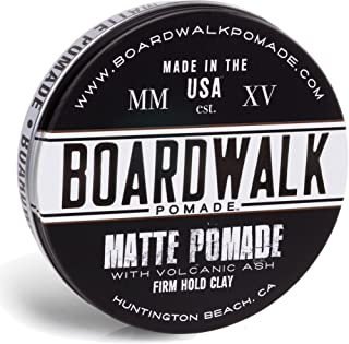 Boardwalk Matte Pomade 4.5oz Firm Hold Clay, Strong Hold - Matte Finish. Water-Based/Soluble, Made with Volcanic Ash and Aloe-Vera, Vegan & Paraben-Free.