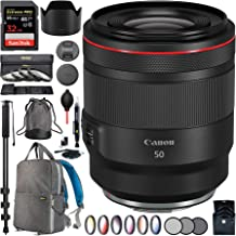 Canon RF 50mm F1.2 L USM Full Frame Lens for EOS R RF Mirrorless Camera 2959C002 with 77mm Multicoated UV, Polarizer & FLD Filter Kit Photography Backpack Bundle