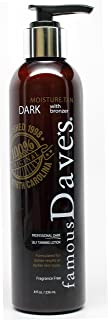 Dave's Dark Self Tanner Sunless Tanning Lotion with Bronzer - For All Skin Types