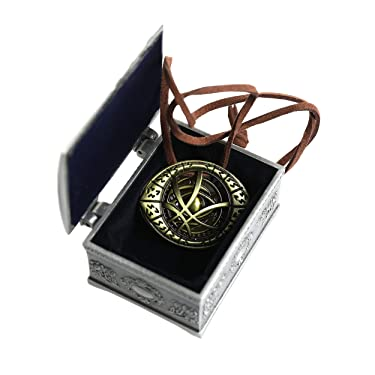 YANJIKEJI Doctor Strange Necklace Eye of Agamotto Costume Prop Stone Pendant with Jewelry Box