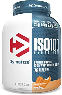 Dymatize ISO 100 Whey Protein Powder with 25g of Hydrolyzed 100% Whey Isolate, Gluten Free, Fast Digesting, Orange Dreamsicle, 5 Pound
