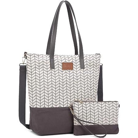 Myhozee Handtasche DamenCanvas Umhängetasche 2 in 1 Shopper Taschen Groß mit Kleiner ClutchBag,Schultertaschen-Damen Tasche Größe15.6 Zoll