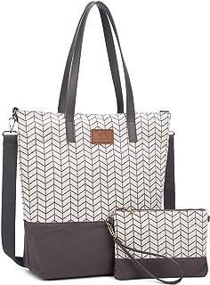 Myhozee Damen Handtasche Canvas Groß Schultertasche Tasche mit Einer Portmonee 2 Sets Grau01