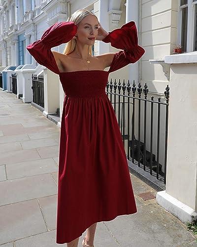 The Drop Women's Bordeaux Off Shoulder Tiered Puff Sleeve Midi Dress By @leoniehanne
