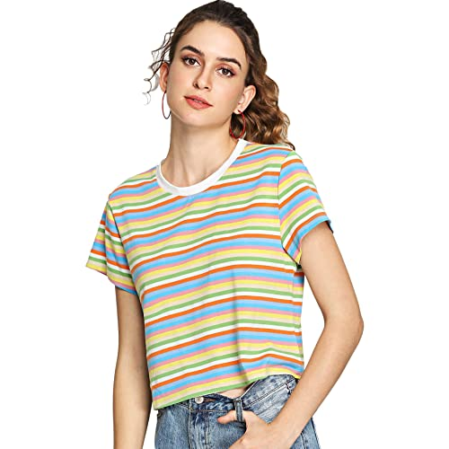 13ed0b9fa SheIn Women's Round Neck Short Sleeve Colorful Striped Crop Top