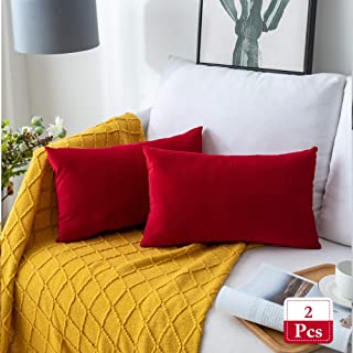 Stellhome Rectangle Velvet Pillow Covers Decorative Cushion Covers for Bed Couch Sofa Bench, 12 x 20 inch (30 x 50 cm), Red, Pack of 2